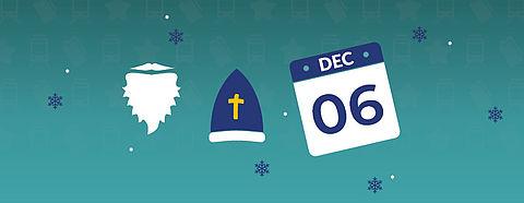 Zu sehen: Bart, Nikolauskappe, Kalender mit 06. Dezember