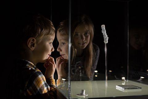 Kinder schauen sich einen Salzkristall in einer Vitrine an