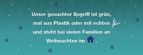 Unser gesuchter Begriff ist grün, mal aus Plastik oder mit echten Nadeln und steht bei vielen Familen an Weihnachten im Haus.